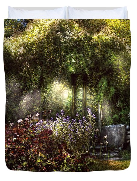 Summer - Landscape - Eve's Garden Duvet Cover by Mike Savad