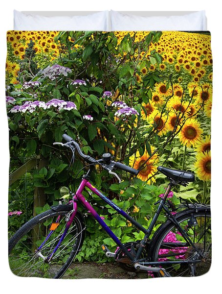 Summer Cycling Duvet Cover by Debra and Dave Vanderlaan