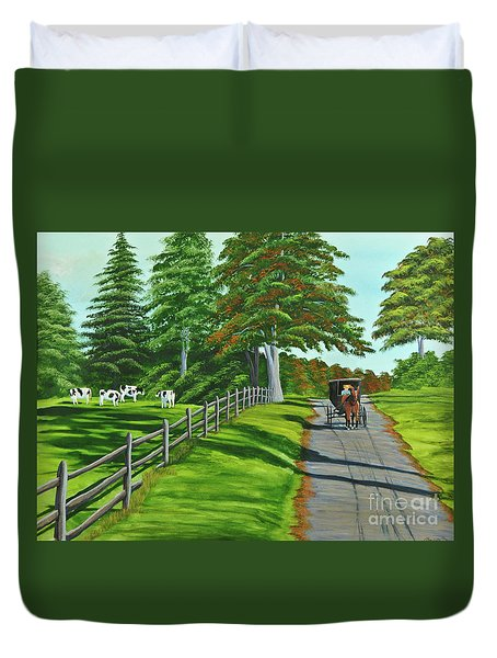 Sunday Drive Duvet Cover by Charlotte Blanchard