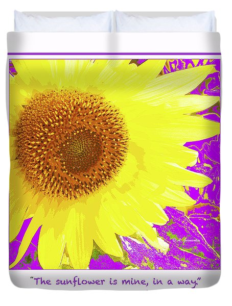 Duvet Cover featuring the digital art Sunflower And Van Gogh Quotation by A Gurmankin