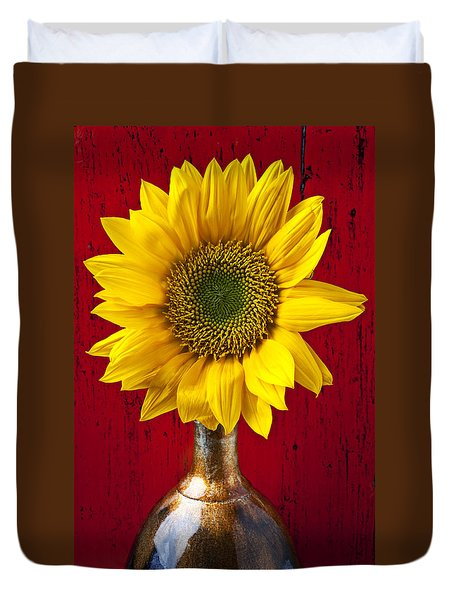 Sunflower Close Up Duvet Cover by Garry Gay