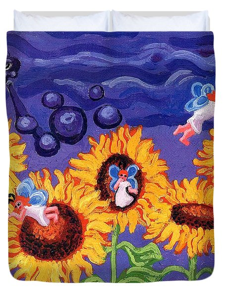 Sunflowers and Faeries Duvet Cover by Genevieve Esson