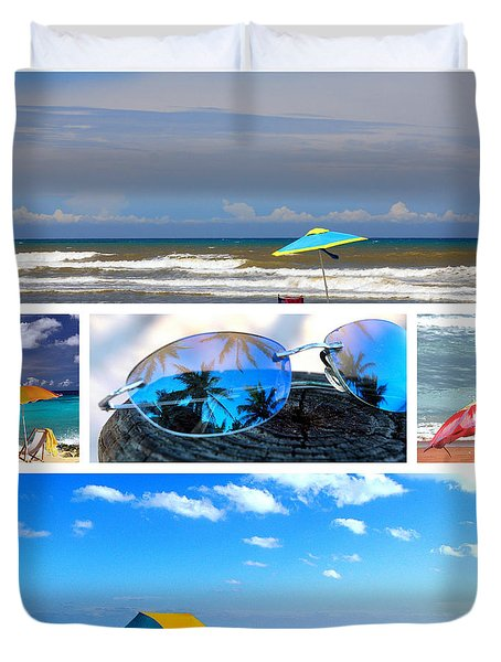Sunglasses Needed In Paradise Duvet Cover by Susanne Van Hulst