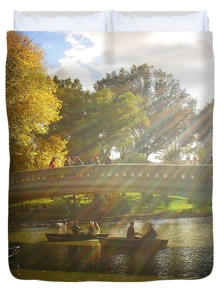 Sunlight And Boats - Central Park -  New York City Duvet Cover by Vivienne Gucwa