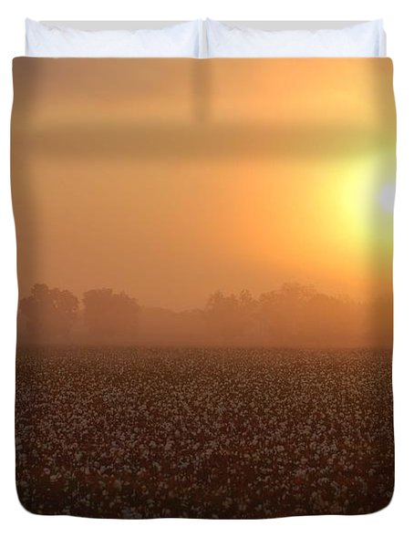Sunrise And The Cotton Field Duvet Cover by Michael Thomas