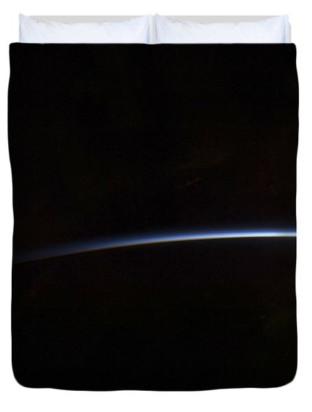 Sunrise As Viewed In Space Duvet Cover by Stocktrek Images
