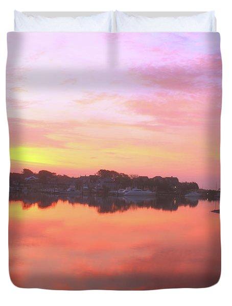 Sunrise Hyannis Harbor Duvet Cover by Roupen  Baker