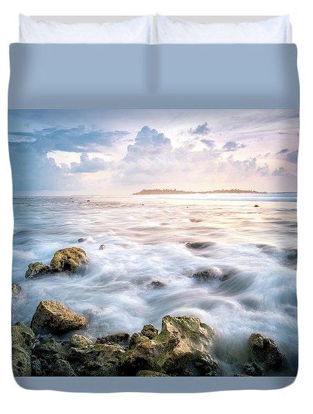 Sunrise On The Beach, Maldive Duvet Cover by Katesalin Pagkaihang