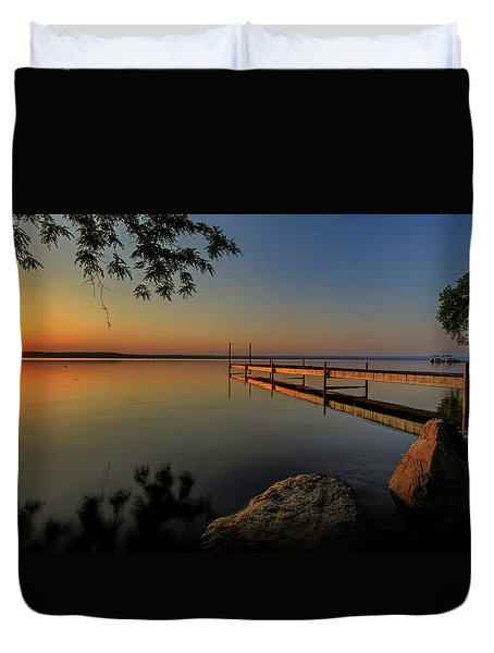 Sunrise Over Cayuga Lake Duvet Cover by Everet Regal