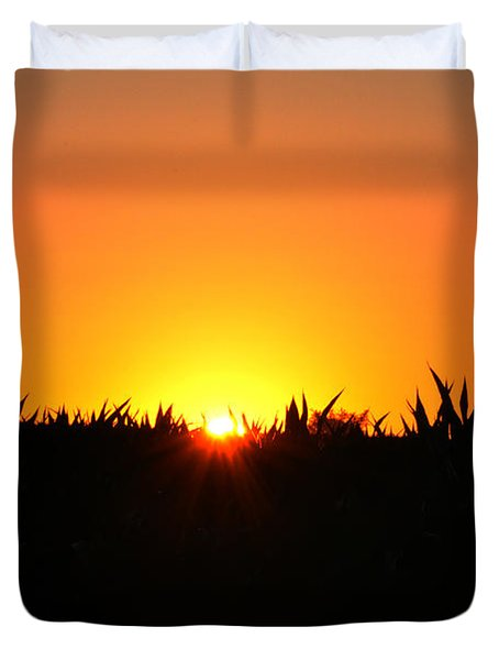 Sunrise Over Corn Field Duvet Cover by Bill Cannon