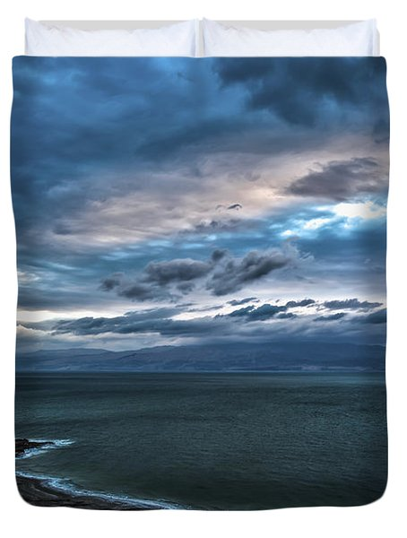 Sunrise Over The Dead Sea Israel Duvet Cover by Reynold Maines
