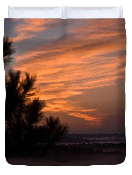 Sunrise Over The Mist Duvet Cover by Douglas Barnett