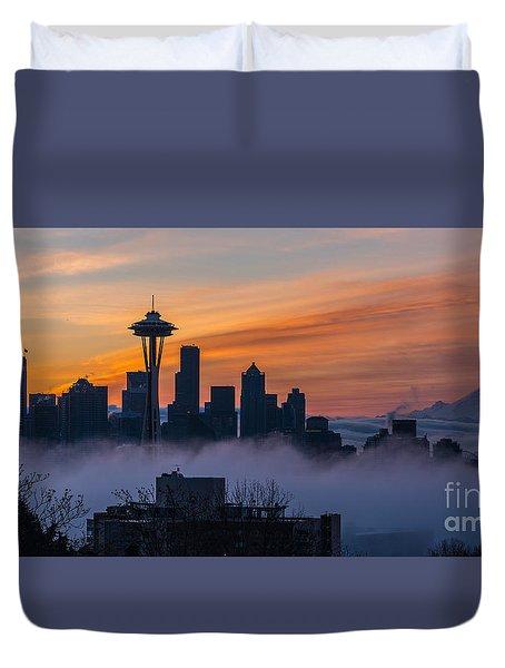 Sunrise Seattle Skyline Above The Fog Duvet Cover by Mike Reid