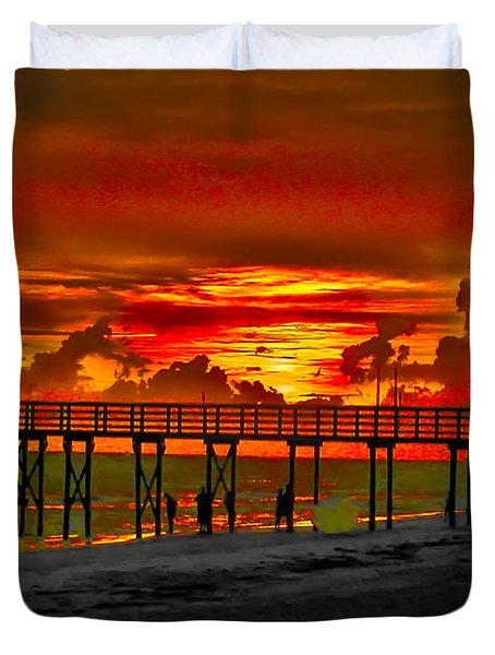 Sunset 4th of July Duvet Cover by Bill Cannon