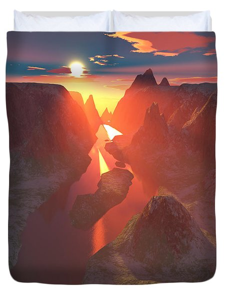 Sunset At The Canyon Duvet Cover by Gaspar Avila