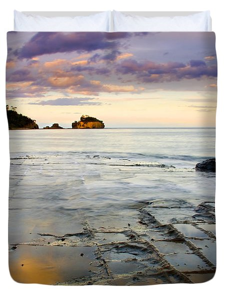 Sunset Grid Duvet Cover by Mike  Dawson