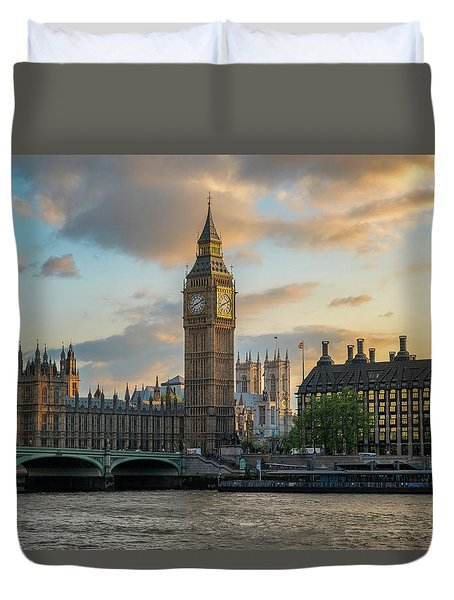 Sunset In London Westminster Duvet Cover by James Udall