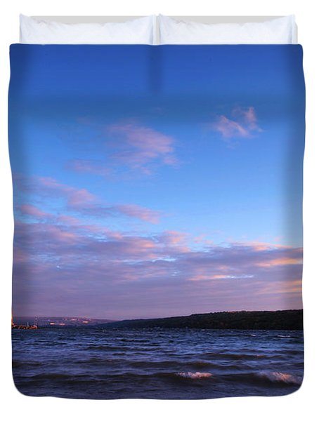 Sunset on Cayuga Lake Ithaca Duvet Cover by Paul Ge