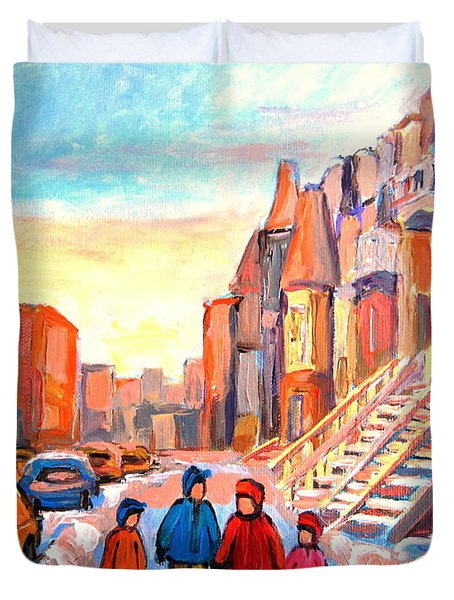 Sunset On Hotel De Ville Street Montreal Duvet Cover by Carole Spandau