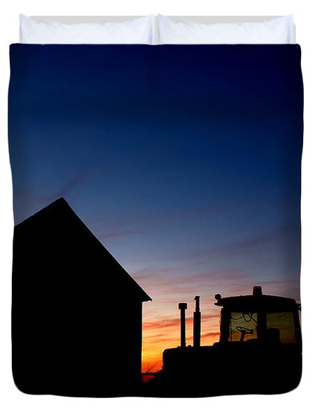 Sunset on the Farm Duvet Cover by Cale Best