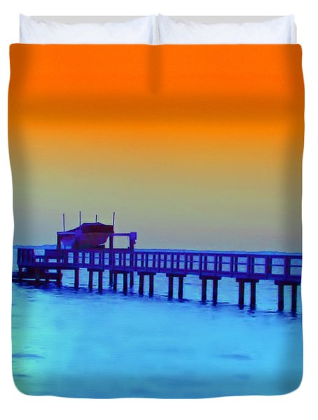 Sunset On The Pier Duvet Cover by Bill Cannon