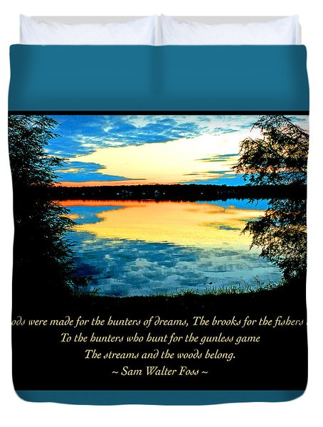 Duvet Cover featuring the photograph Sunset Over A Mountain Lake by A Gurmankin