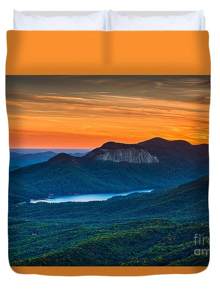 Sunset Over Table Rock From Caesars Head State Park South Carolina Duvet Cover by T Lowry Wilson