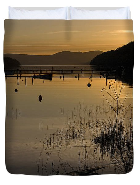 Sunset Over The Lake Duvet Cover by Carole Lloyd