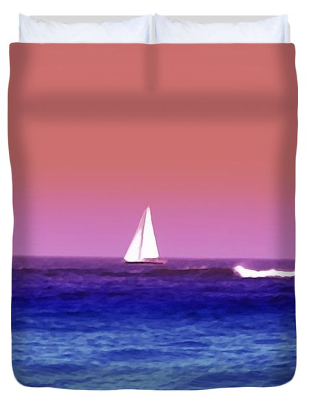 Sunset Sailboat Duvet Cover by Bill Cannon