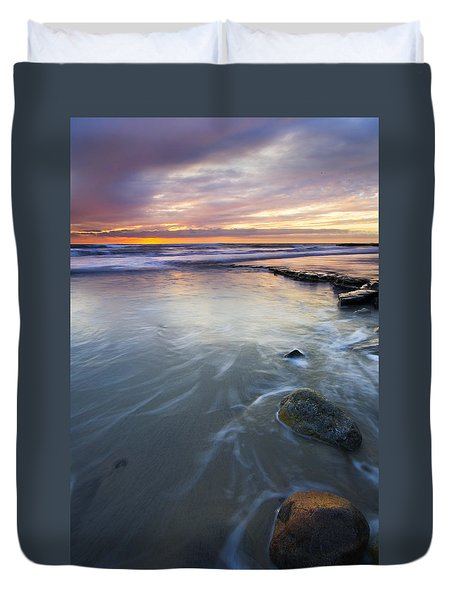 Sunset Storm Duvet Cover by Mike  Dawson
