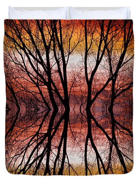 Sunset Tree Silhouette Abstract 2 Duvet Cover by James BO  Insogna