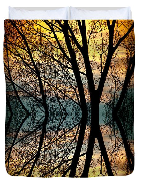 Sunset Tree Silhouette Abstract 3 Duvet Cover by James BO  Insogna