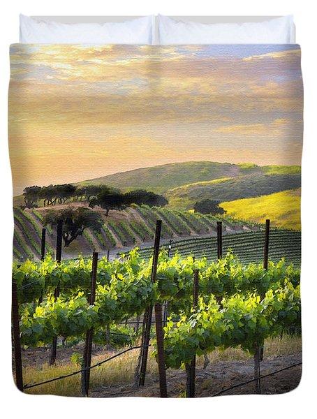 Sunset Vineyard Duvet Cover by Sharon Foster