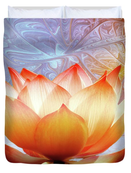 Sunshine Lotus Duvet Cover by Photodream Art