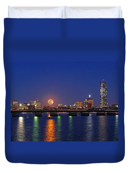 Super Moon Over Boston Duvet Cover by Juergen Roth