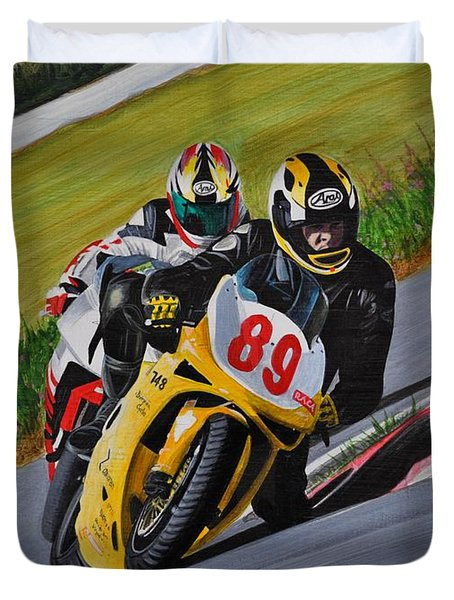 Superbikes Duvet Cover by Kenneth M  Kirsch