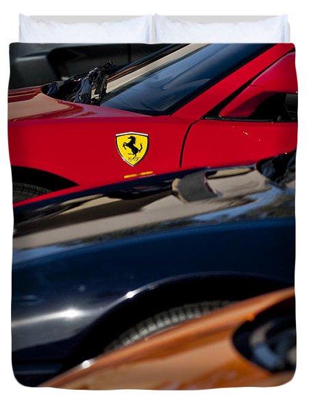 Supercars Ferrari Emblem Duvet Cover by Jill Reger