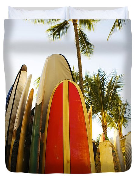 Surfboards At Waikiki Duvet Cover by Dana Edmunds - Printscapes