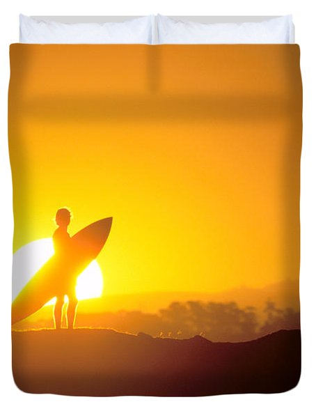 Surfer Silhouetted At Sun Duvet Cover by Erik Aeder - Printscapes