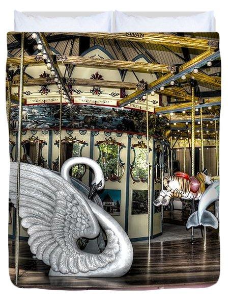 Swan Seat At The Carousel  Duvet Cover by Michael Garyet