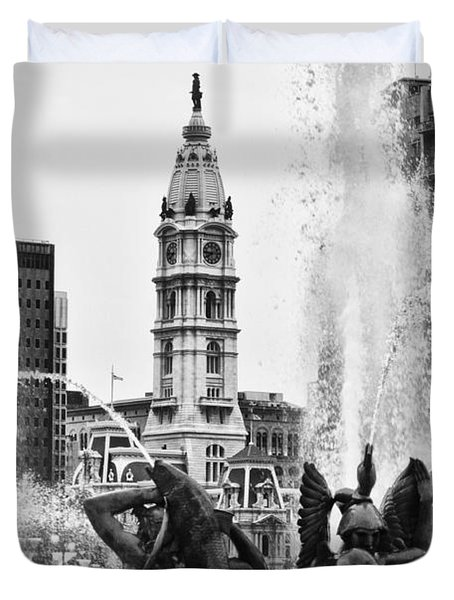 Swann Memorial Fountain in Black and White Duvet Cover by Bill Cannon