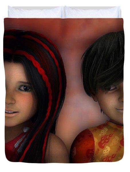Swarthy Twins Duvet Cover by Jutta Maria Pusl