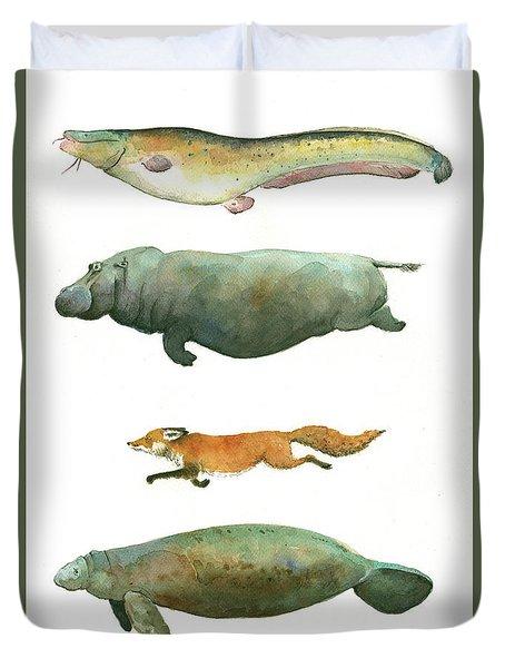 Swimming Animals Duvet Cover by Juan Bosco