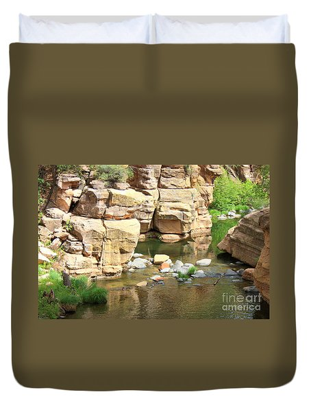 Swimming Hole At Slide Rock Duvet Cover by Carol Groenen