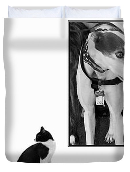 Sworn Enemies - Gently Cross Your Eyes And Focus On The Middle Image Duvet Cover by Brian Wallace