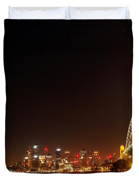 Sydney By Night Duvet Cover by Justin Woodhouse