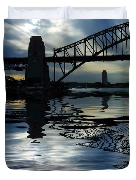 Sydney Harbour Bridge reflection Duvet Cover by Sheila Smart