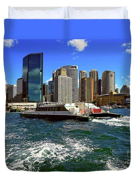 Sydney Skyline From Harbor By Kaye Menner Duvet Cover by Kaye Menner