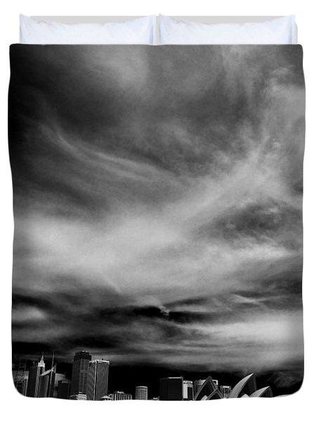 Sydney Skyline With Dramatic Sky Duvet Cover by Avalon Fine Art Photography