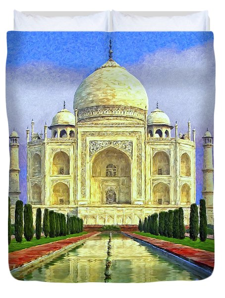 Taj Mahal Morning Duvet Cover by Dominic Piperata
